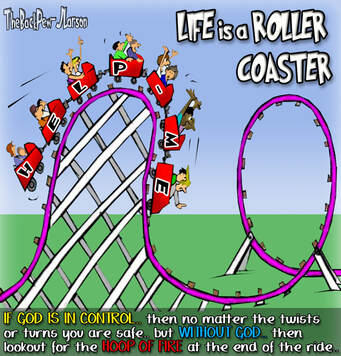 This Christian cartoon features life as a roller coaster ride
