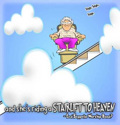 This christian cartoon features a senior stairlift to Heaven