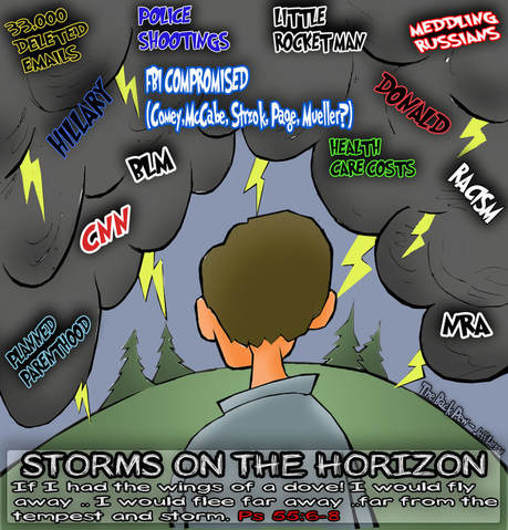 This christian cartoon features a Psalm of comfort when the horizon appears stormy.