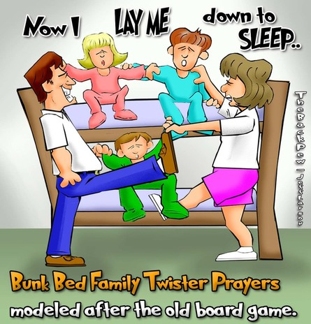 This christian cartoon features a family doing bedtime prayers like the old Twister board game.