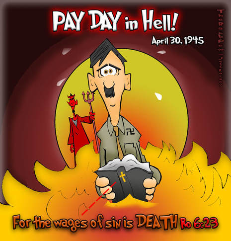 This Christian cartoon features the sobering truth that the wages  of sin is DEATH.