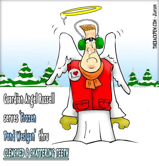 This Christian cartoon features a warm weather guardian angel working in Hibbing Minnesota