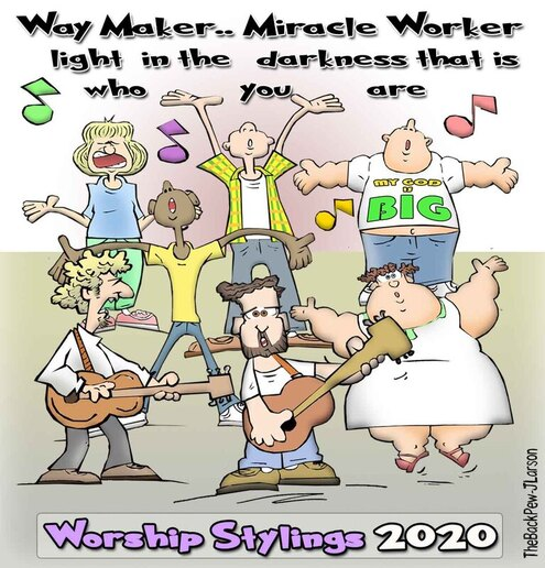 This Worship cartoon features a range of worship stylingsPicture