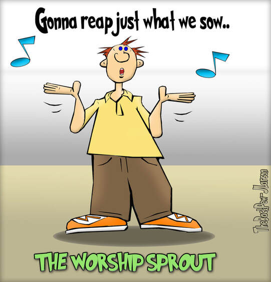 This Worship Cartoon features a Christian with hands slightly raised .. with a styling I like to call 'The Worship Sprout'Picture
