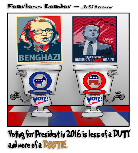 This political cartoon illustrates the difficult DOOTIE to vote we all have in 2016.