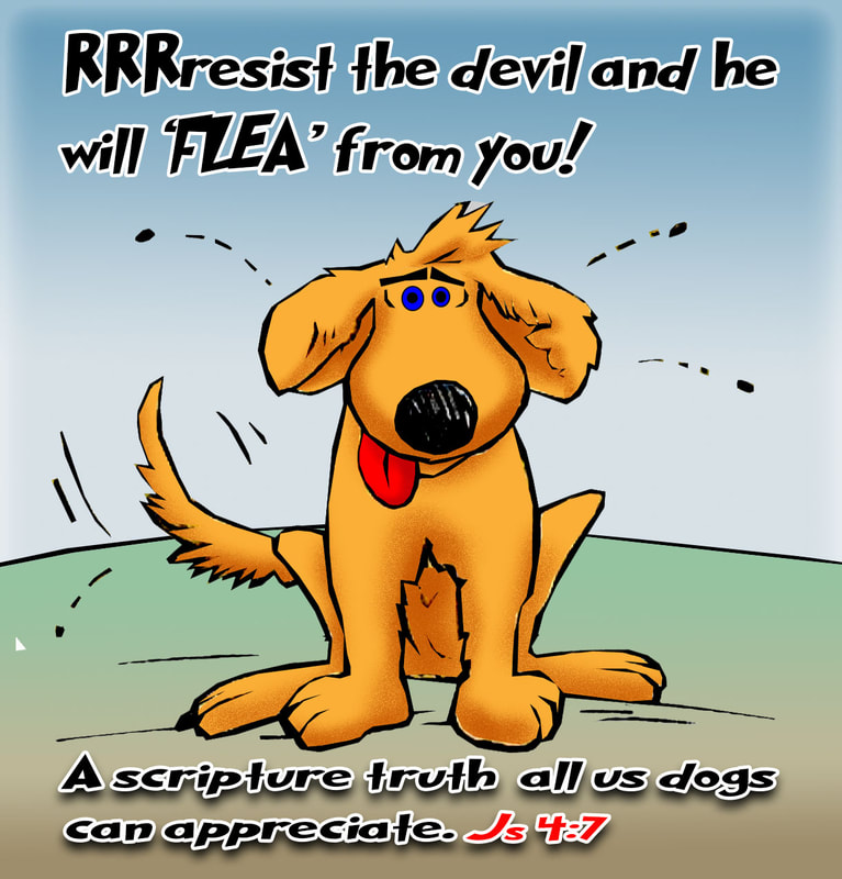 christian cartoons, dog cartoons, dog fleas cartoons, james 4:7