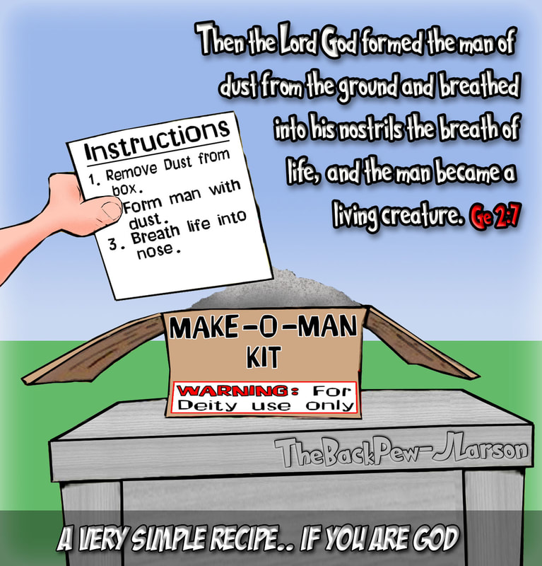 Creation cartoons from Genesis 2:7 where God created man