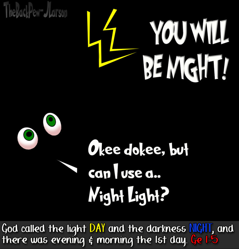 Creation cartoons where God created the night in Genesis 1:5