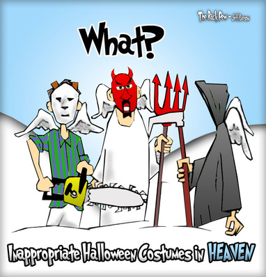 This Halloween cartoon features irony of inappropriate costumes in Heaven