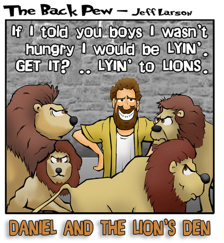This bible cartoon features Daniel in the Lions Den