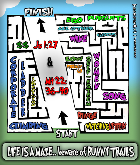 This christian cartoon features the simple puzzle of life in the form of a maze where the path to Heaven is much easier than we make it