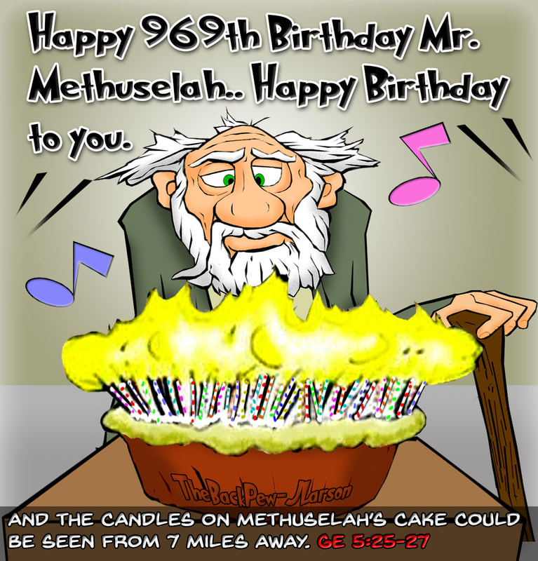 Methuselah cartoons from Genesis 5:25-27
