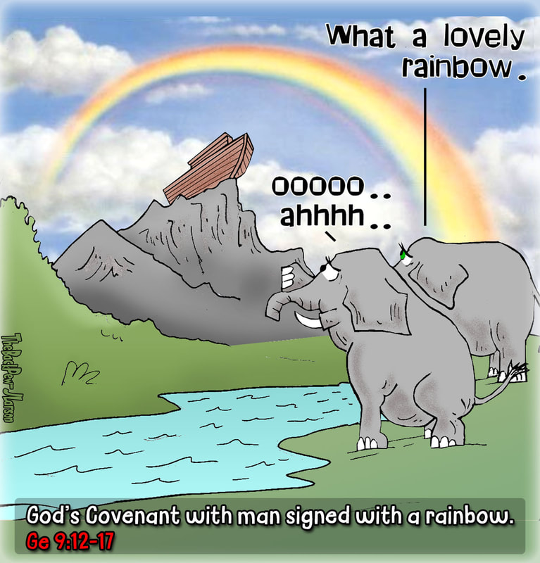 Noah cartoons where the ark is on land and there is a covenant rainbow in Genesis 9:12-17