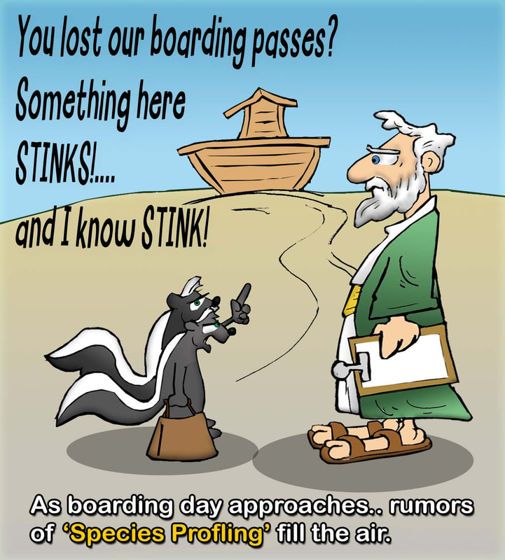 This bible cartoon features Noah boarding skunks onto the Ark