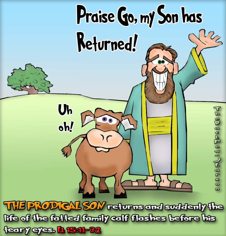 This gospel cartoon features the story of the prodigal son through the eyes of the fatted calf