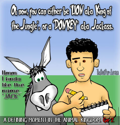 This bible cartoon features the bible story from Genesis while Adam is naming the animals and it was a defining moment for the donkey