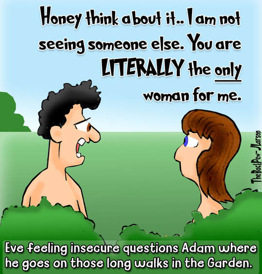 This Bible Cartoon features Eve questioning Adam's lovePicture