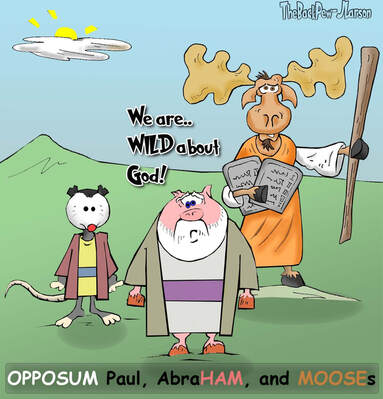 This christian cartoon features great animal leaders of the bible?