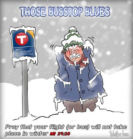 This Christian Cartoon features those bus stop blues in Minnesota