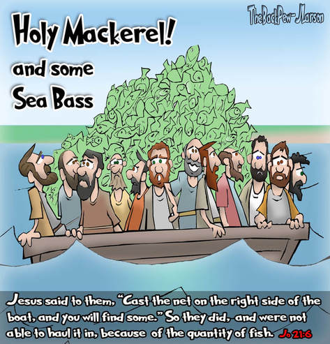 This bible cartoon features Jesus giving his disciples a pop quiz