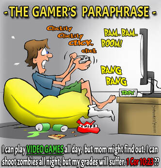 This christian cartoon features a teenager playing video games paraphrasing 1 Cor 10:23