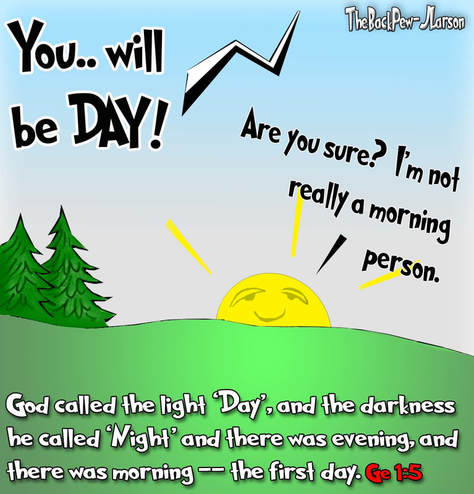 this bible cartoon features God creating day on the first day in Genesis 1:5