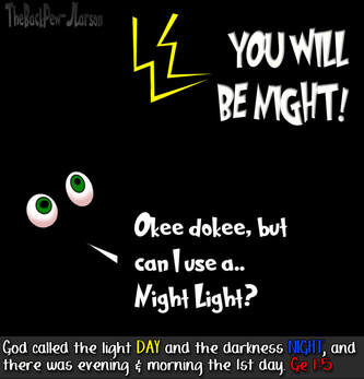This bible cartoon features God creating the world and calling darkness night in Genesis 1:5