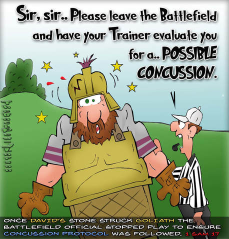 This Goliath cartoon features the bible story from 1 Samuel 17 noting a possible concussion