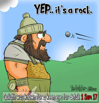 This Goliath cartoon features the bible story from 1 Samuel 17 just before the rock slung by David hits him