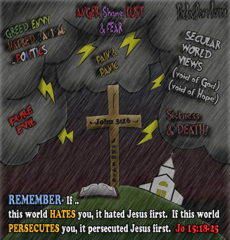 This christian cartoon features the true church of Jesus is under persecution