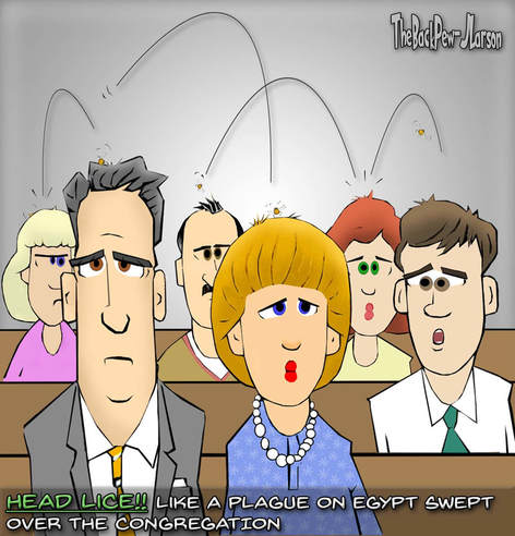 This church cartoon features a head lice epidemic