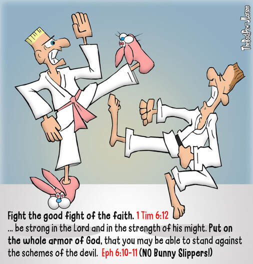This Christian Cartoon features fighting the good fight using Karate and Pink Bunny SlippersPicture