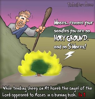 This Moses cartoon features the bible story from Exodus 3 where he encounters the burning bush