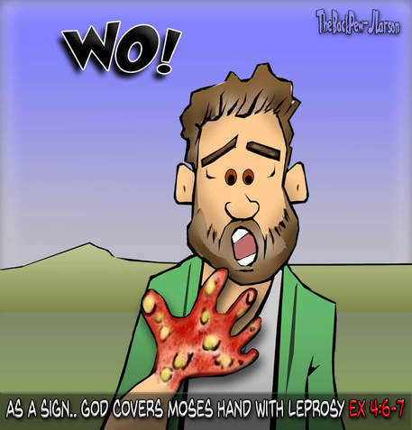 This bible cartoon features the story of Moses from Exodus 4 where God covers his hand with leprosy as a sign