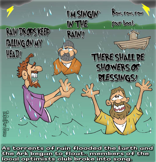 This Bible Cartoon features Optimist Club singers performing during the Great FloodPicture