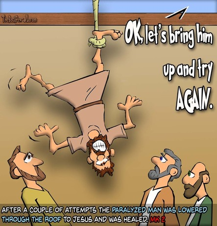 this gospel cartoon features the story of Jesus healing the man lowered through the roof