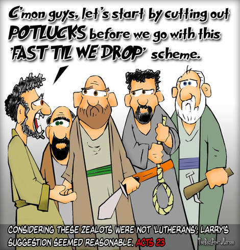 This bible cartoon features the story from Acts 23 where a group of zealots threaten to kill the Apostle Paul