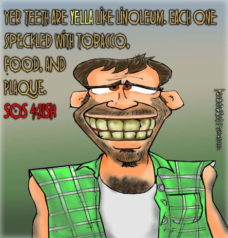 This Redneck cartoon features the yellow stained toothy redneck smile while referencing Song of Solomon 4:2