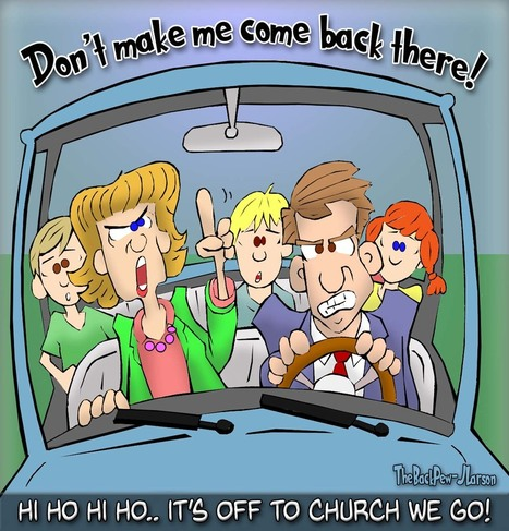 This Christian cartoon features the stereotypical family ride of exasperation to church