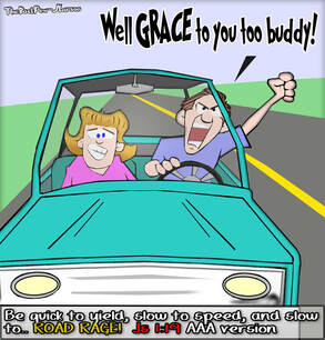 driving cartoons, christian cartoons, road rage cartoons, road grace cartoons, James 1:19