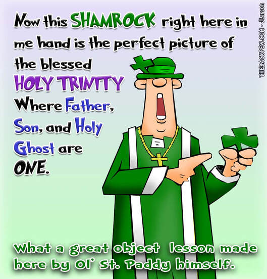 This christian cartoon features St Patrick sharing the spiritual lesson of the Shamrock