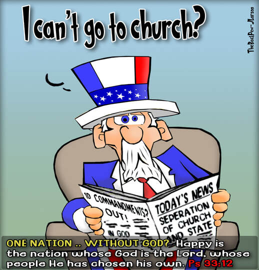 This christian cartoon features Uncle Sam perplexed over the seperation of church and state misinterpretation