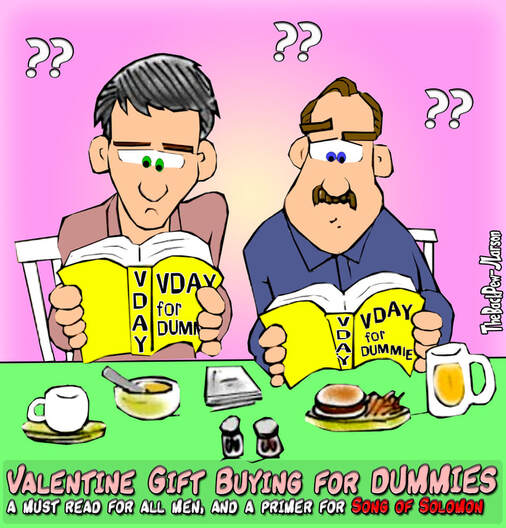 This Valentines Day cartoon features a couple guys doing their best by reading Valentines Day for Dummies