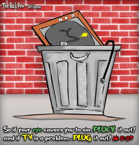 This Christian cartoon features a television thrown into the trash.