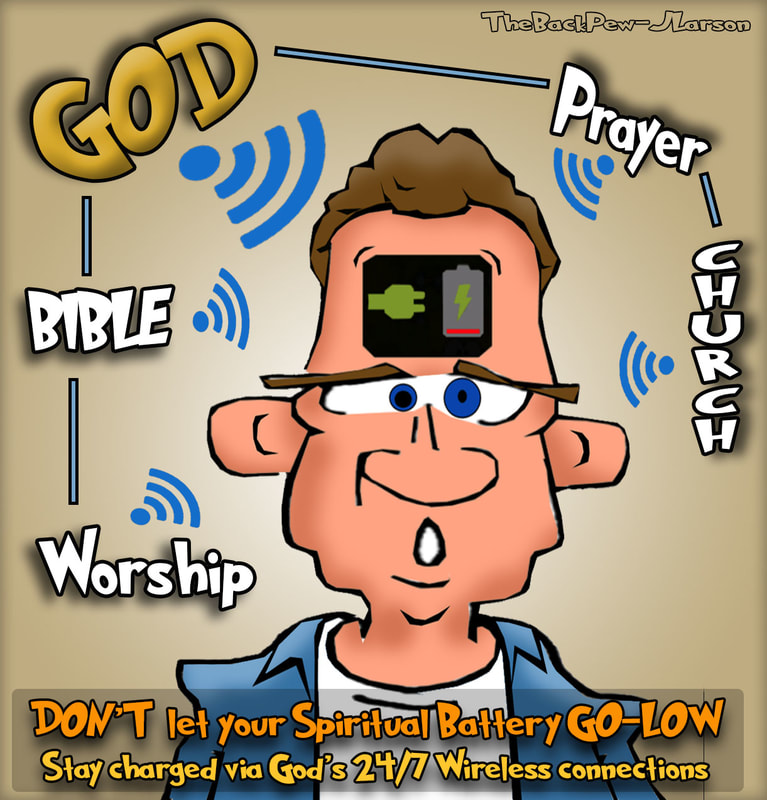 This christian cartoon features a fella who needs to charge his spirit with all the great Christian resouces to stay close with God