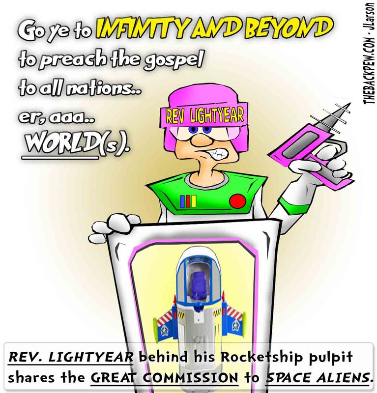 This christian cartoon features the Great Commission presented by Rev. Lightyear