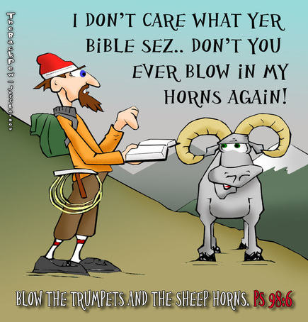 This christian cartoon features Psalm 98:6 where a live sheep has his horns blown
