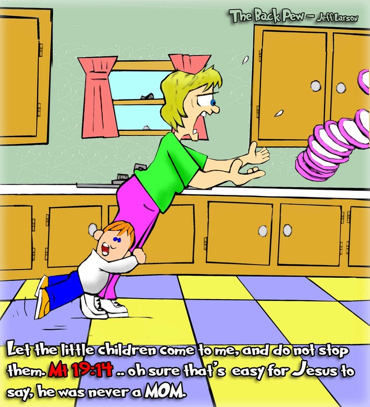 This christian cartoon features a mom tripped up by the dreaded two legged toddler takedown
