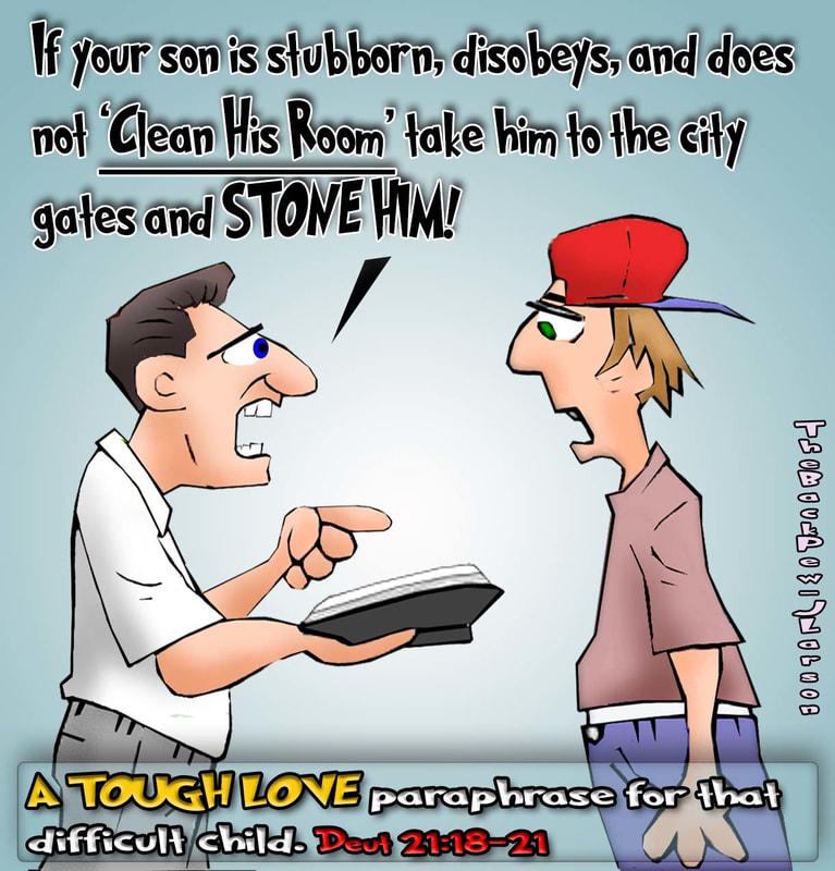 This christian cartoon features a dad overreacting to his son not cleaning his room with EXTREME tough love