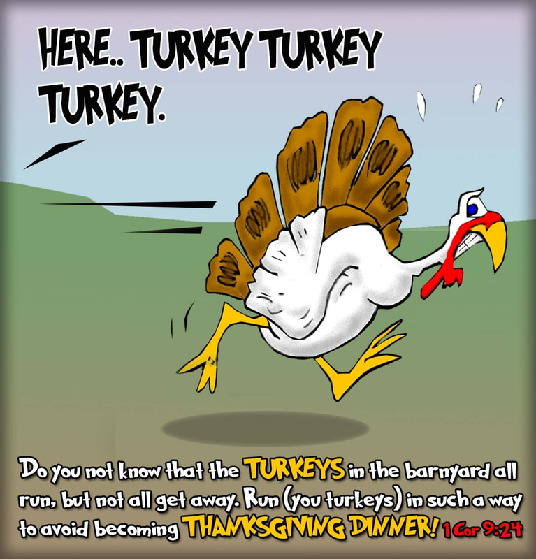 This Thanksgiving cartoon features a turkey running for safety paraphrasing 1 Corinthians 9:24